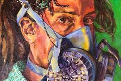 """Self-Portrait with Respirator and Bug"""