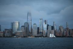 """""""NYC Sailboat at Dusk in Storm"""""""