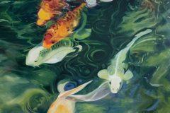 """""""Koi Fish Swimming Down Stream"""""""