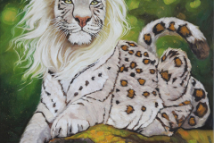 """Mythical big cat on log"""